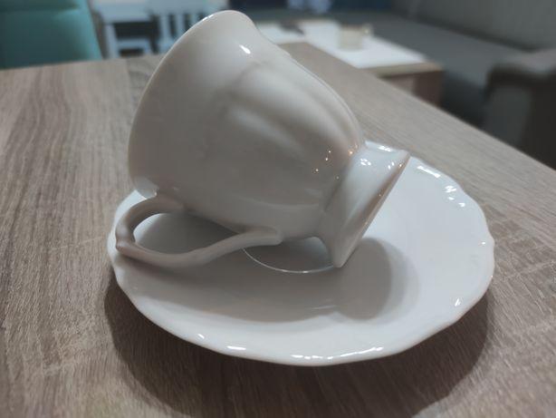 Zestaw kawowy Maria Teresa linia biała nowy, 12 osób, spodek+filiżanki