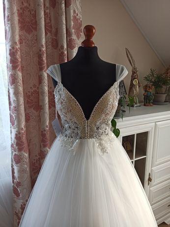 Suknia ślubna bajkowa Esmeralda kolor ivory rozmiar 36 38