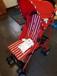 Czerwony wózek składany dziecięcy Mothercare Nanu Stroller Red Stripes