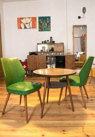krzesła patyczak zielone prl lata 60 muszelka fotele krzesło stolik