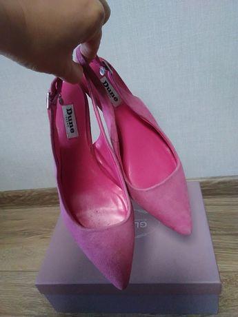 Продам мюли босоножки туфельки р. 37.5 натур.замш розовые