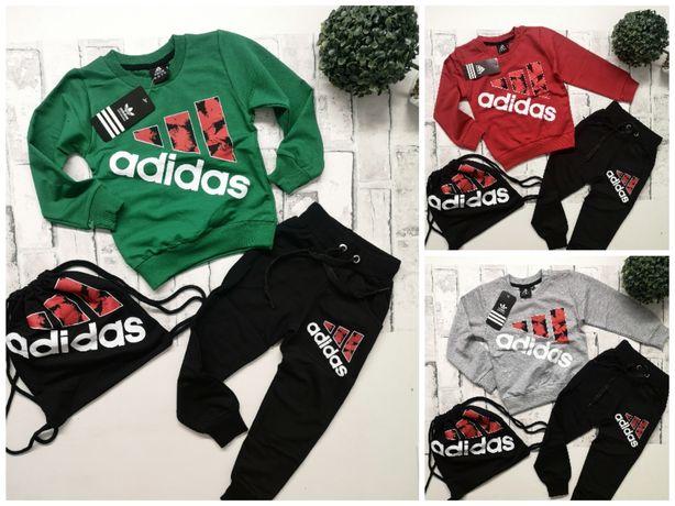 Dres spodnie bluza adidas logo plus woreczek 98-122 dziecięce
