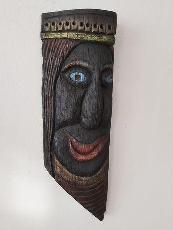 Płaskorzeźba rzezba czarny dąb czarna maska niepowtarzalna