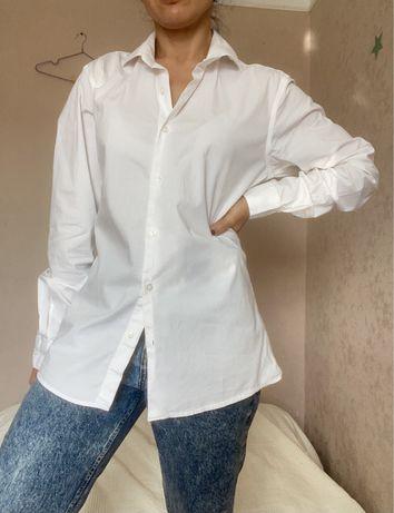 Базовая рубашка белая в офис s-m