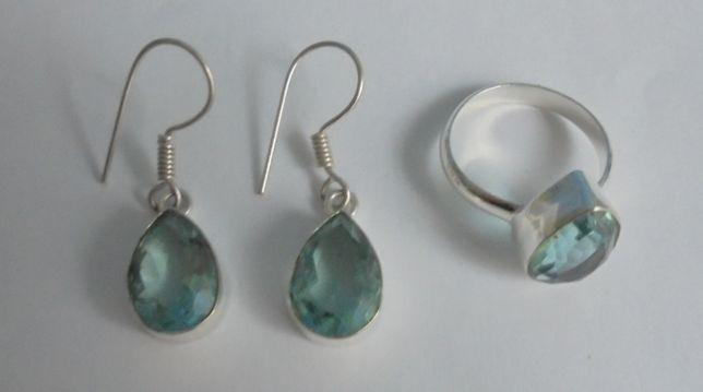 Conjunto em quartzo azul-verde prateado
