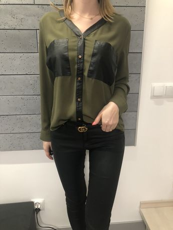 Koszula eco skórka khaki bluzka wizytowa