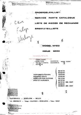 Katalog części kombajn Clayston 103