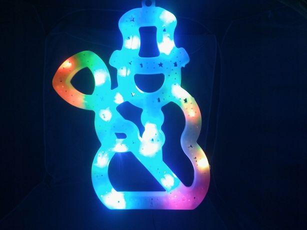 OZDOBA LED RGB NA OKNO ŚWIĄTECZNY bałwan choinka anioł gwiazda