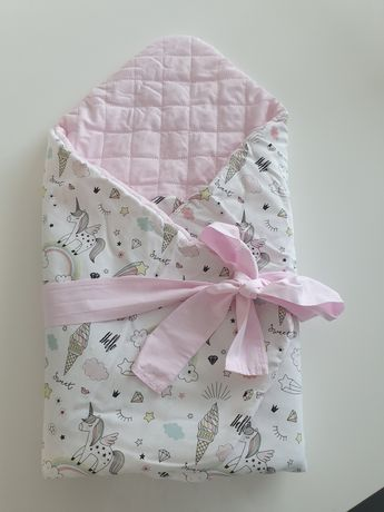 Rożek niemowlęcy Jednorożce 75x75 Bawełna Premium Bobolove