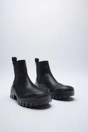 Zara Buty botki skórzane 40