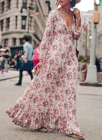 Sukienka długa w kwiatowy wzór w rozmiarze S