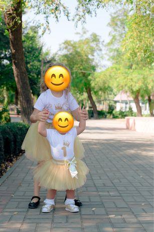 Наряд на День Рождение 1 годик (юбка-пачка, боди, корона) family look