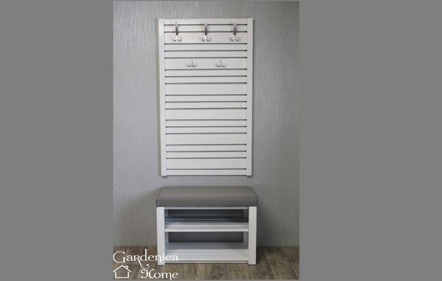 Zestaw komplet do przedpokoju wieszak szafka dwie półki siedzisko