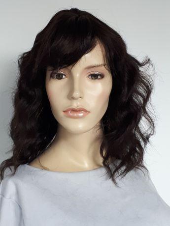 WYPRZEDAŻ-60% peruka naturalna 100% falowane włosy HIT jasny brąz