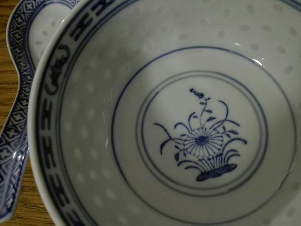Miseczka z łyżką porcelana oryginalna z Chin