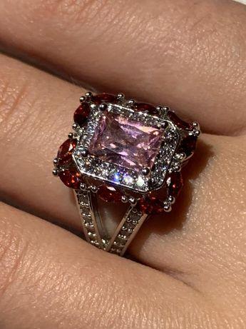 Серебряное кольцо , кольцо из серебра , шпинель , морганит, серебро