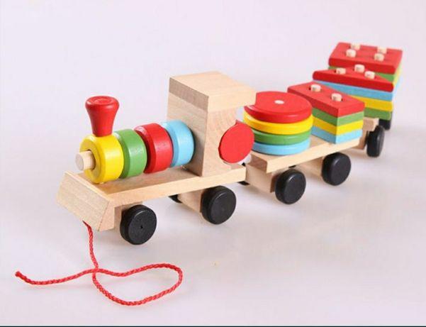 Деревянный паровозик, деревянные игрушки
