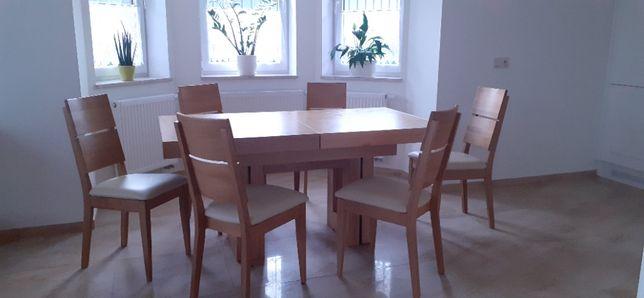 Nowoczesny stół dębowy- rozkładany z litego drewna z 6 krzesłami