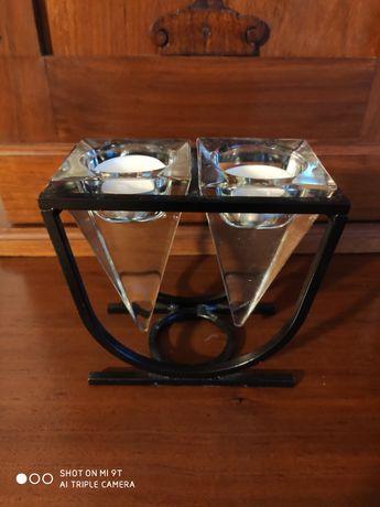 Świecznik metalowy/szklany