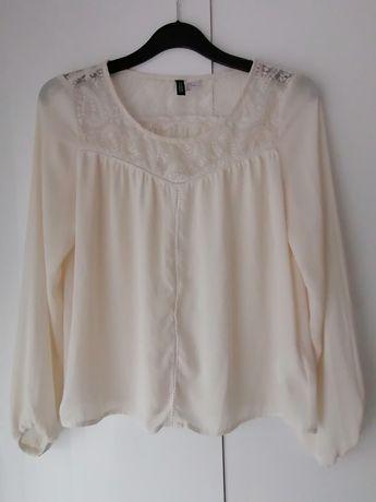 Biała elegancka bluzka z długim rękawem  koronkowa H&M 36 S 38 M