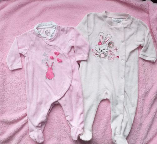 Pajace niemowlęce welurowe 2 sztuki
