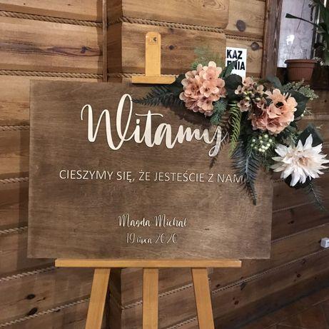 Tablica powitalna na wesele boho rustykalna ozdoby