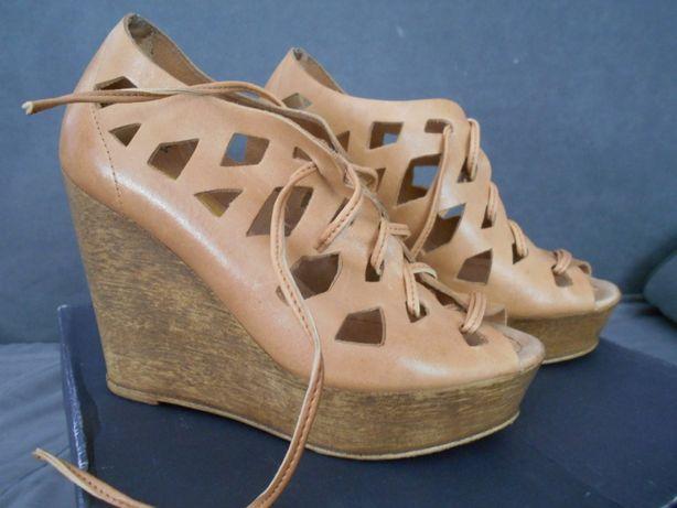 botki RYŁKO badura skóra 100% koturna koturn j NOWE r. 36 tanio sandał