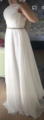 Suknia ślubna S/M 36/38 z ozdobnym paskiem koronka