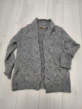 Kardigan szary sweter rozm. 38