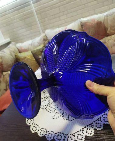 Ваза 50г СССР Кобальт толстое стекло винтаж сервиз посуда