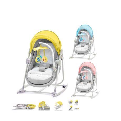 Leżaczek bujaczek krzesełko Kinderkraft UNIMO 5w1 żółty niebieski szar