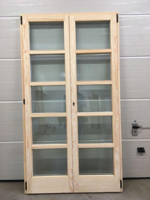 Drzwi dwuskrzydłowe sosnowe drewniane przeszklone TARASOWE