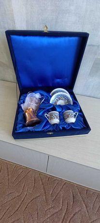 Набор Кофейный подарочный  2 чашки с жезвой,, в подарочной коробке