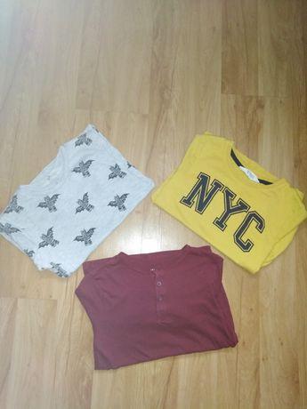 Bluzka z długim rękawem plus dwie bluzki z krótkim 122-128 cm, H&M
