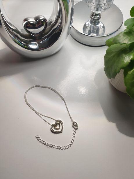 Naszyjnik dwa serca kryształki srebrne