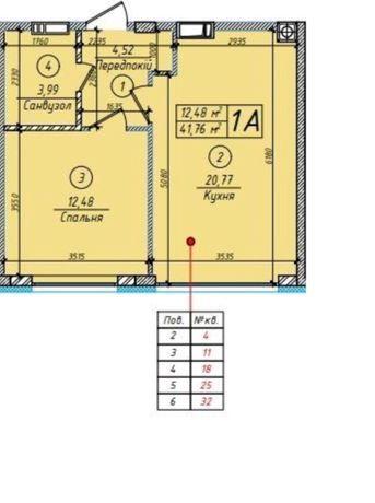 Продам 1к квартиру в ЖК Петровский квартал 41,76м2- 21600$