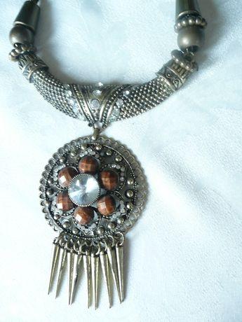 Naszyjnik kolia wisior stare złoto kryształ cyrkonie