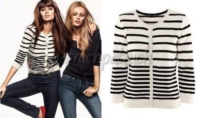 H&M bialo czarny sweterek w paski z rekawkiem 3/4 rekawem 40 L 48 M XL