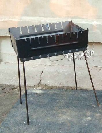 Мангал 2 мм складной 2 уровня по высоте для шампуров - компактный