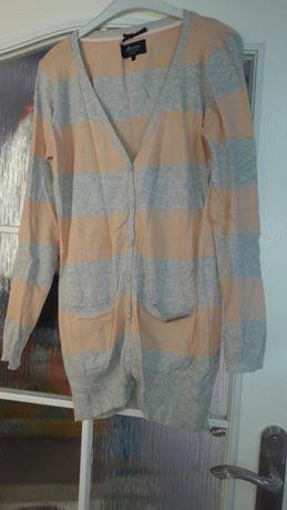 Sweter house M na guziki szary pomarancz