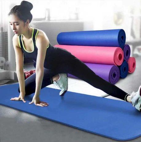 Коврик для йоги и фитнеса синий