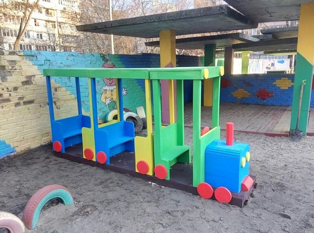 Детская площадка паровоз, площадка паровозик, игровой комплекс паровоз