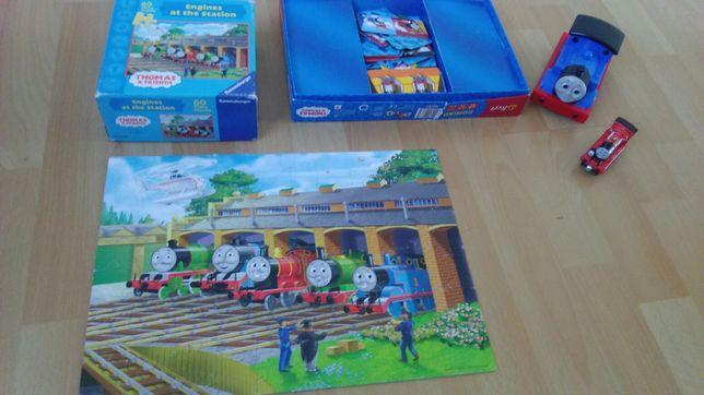 Tomek i przyjaciele, puzzle, lokomotywa wagoniki, domino