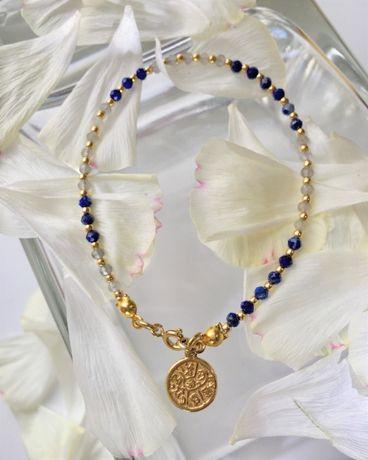 Bransoletka kamienie naturalne Lapis Lazuli, Labradoryt - Strażniczka
