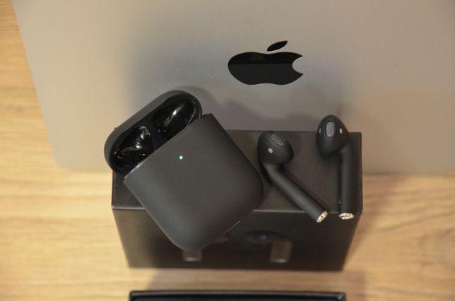 Беспроводные Bluetooth наушники AirPods BlackPods Аирподс 2 черные