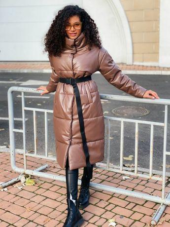 Акция! Длинный пуховик экокожа куртка зимняя из эко кожи