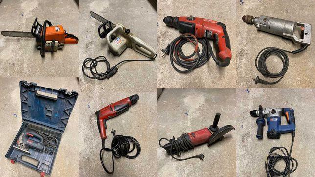 Bogaty zestaw elektronarzędzi i narzędzi budowlanych