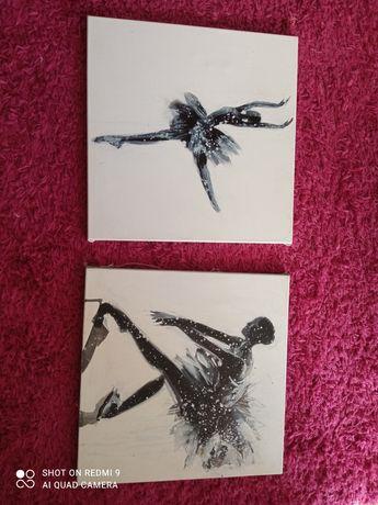 Malowane dwa obrazy baletnice
