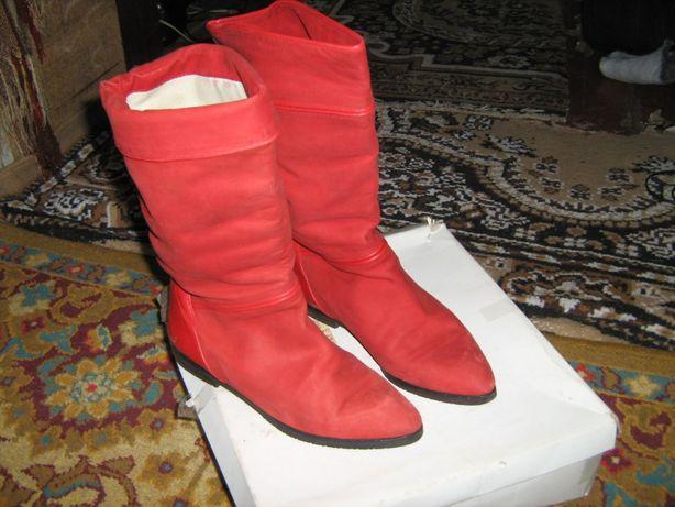 lсапоги женские кожа низкая платформа цвет красный весенние осенние