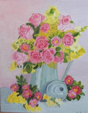 Картина Цветы в кувшине картон/масло 24см*30см